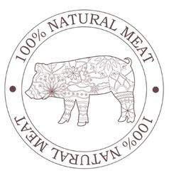 Natural meat stamp with pig vector image