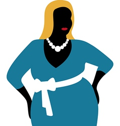 Plus size woman in blue dress vector