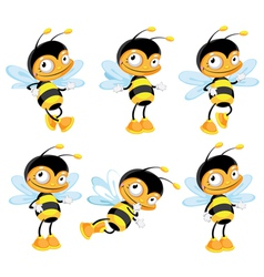 set funny bee vector image vector image