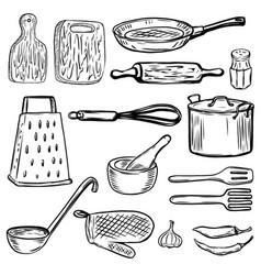 set of hand drawn kitchen tools design elements vector image vector image