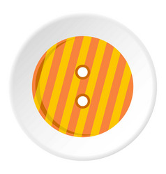 Striped orange and yellow clothing button icon vector