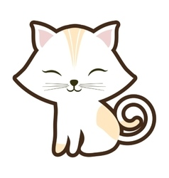 white small cat sitting stripes yellow closed eyes vector image