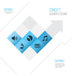 Audio icons set collection of music cd octave vector
