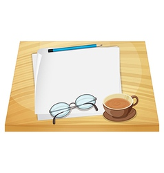 Empty sheets of paper above the wooden table vector image