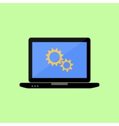 Flat style laptop with gear wheels vector image
