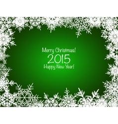 Green and white shiny snowflakes Christmas vector image