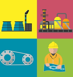 Industry Factory Flat Icon Set vector image vector image