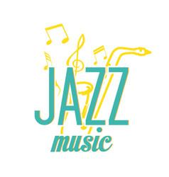 jazz music yellow saxophone music note background vector image
