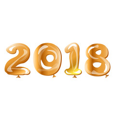 metallic gold balloon 2018 happy new year vector image