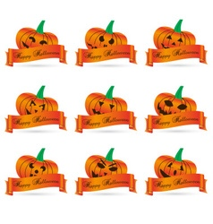 Orange halloween carved pumpkins with banners set vector