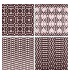 oriental rose and brown decorative patterns vector image vector image