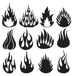 set of flames vector image vector image