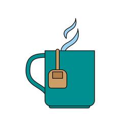 color silhouette cartoon mug with bag tea and vector image