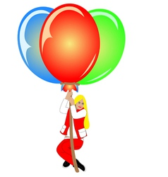 image of pretty woman with colorful balloons vector image vector image