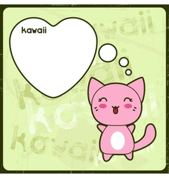 Kawaii card with cute cat on the grunge background vector image vector image