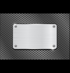 metal brushed plate on iron perforated background vector image vector image