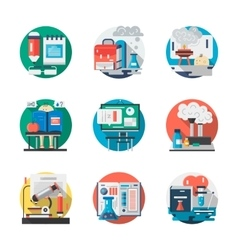 Set of school chemistry detailed flat icons vector image vector image