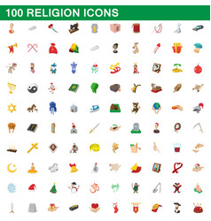 100 religion icons set cartoon style vector image