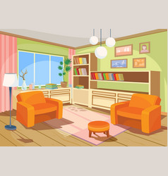 A cartoon interior of an vector