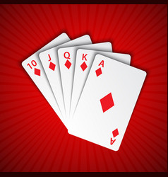 A royal flush of diamonds on red background vector