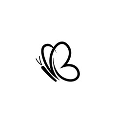 Abstract black cute butterfly logo vector