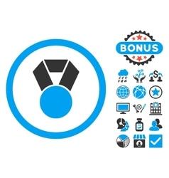 Achievement Medal Flat Icon with Bonus vector image
