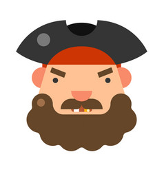 Angry bearded pirate face icon flat vector