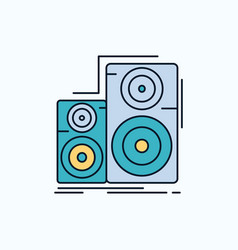 Audio hifi monitor speaker studio flat icon green vector