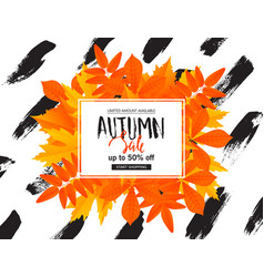autumn sale poster with fall leaves vector image