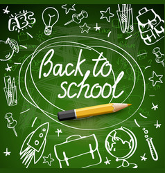 back to school banner doodle on green chalkboard vector image