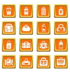 Bag baggage suitcase icons set orange square vector