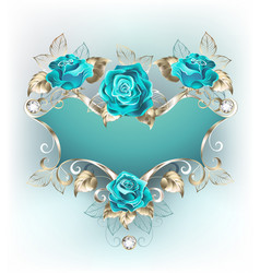 Banner with turquoise roses vector