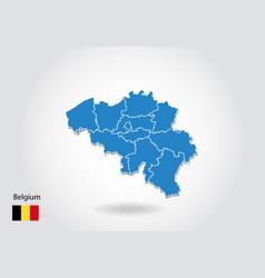 belgium map design with 3d style blue belgium map vector image