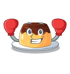 boxing delicious chocolate pudding with on cartoon vector image