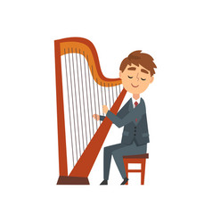Boy playing harp talented young harpist character vector