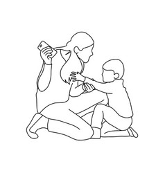 Boy trying to take mobile phone from his mother vector