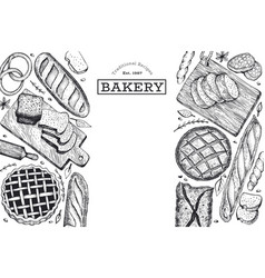 bread and pastry banner bakery hand drawn vector image
