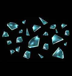 broken glass shards isolated on black background vector image
