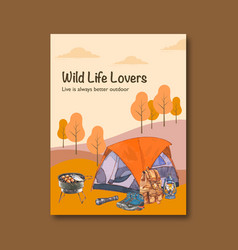 Camping poster design with lantern backpack tent vector