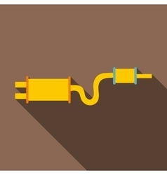 Car exhaust pipe muffler icon flat style vector