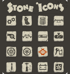 Car shop stone icon set vector