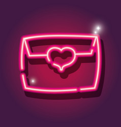 Card letter neon icon decoration vector