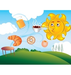 cartoon sun delights cooked breakfast vector image