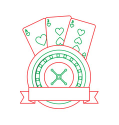 Casino roulette wheel banner with game cards vector