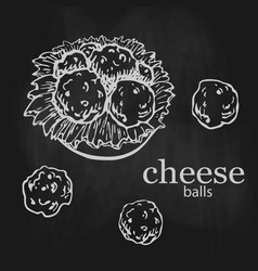 Chalk drawn cheese balls with lettuce on plate vector