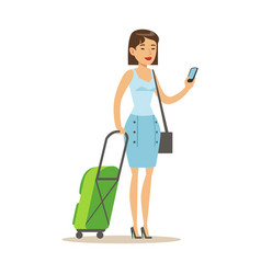 cheerful woman standing with travel suitcases and vector image