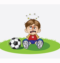 Child playing football in the ground vector