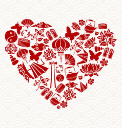 Chinese New Year red icon heart shape decoration vector