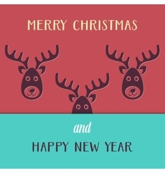 Christmas card with reindeers vector