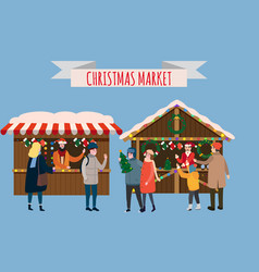 Christmas stalls with with souvenirs and gifts vector